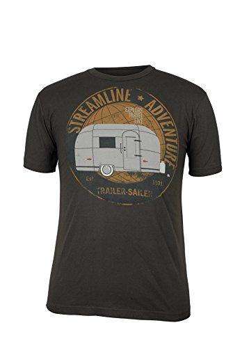 Green 3 Streamline Trailer Short Sleeve T Shirt (Brown) - 100% Organic Cotton Mens Tshirt, Made in The USA -