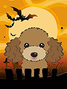 Caroline's Treasures BB1814CHF Halloween Chocolate Brown Poodle Canvas House Size Flag, Multicolor, Large
