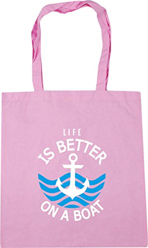 HippoWarehouse Life is better on a boat Tote Shopping Gym Beach Bag 42cm x38cm, 10 litres Classic Pink