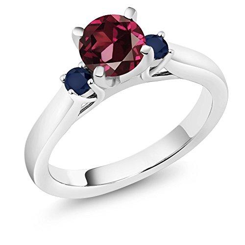 Sapphire Ring Blue Celtic (1.26 Ct Red Rhodolite Garnet Blue Sapphire 925 Sterling Silver 3-Stone Ring)