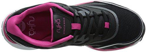 Ryka Womens Strata Walk Walking Shoe Black/Meteorite/Ryka Pink/White