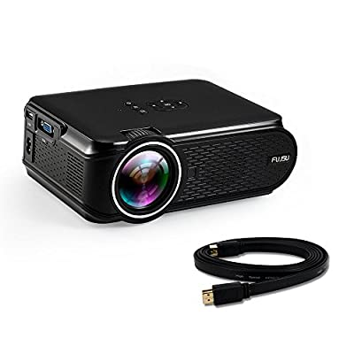Mini Video Projector,FUJSU 1500 Lumens HD Outdoor/Indoor Home LED Projector 1080P for Home Cinema Theater LCD Night Projector HDMI VGA AV USB for TV SD Game PC Laptop iPad Smartphone with HDMI Cable