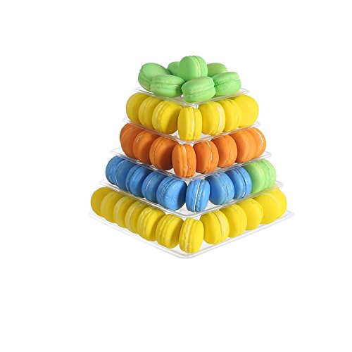 - 5 Tier Clear Square Plastic Macaron Tower Stand Wedding Birthday Display