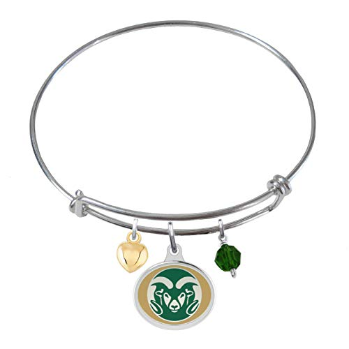 (College Jewelry Colorado State University Rams Sterling Silver Adjustable Bangle Bracelet with Enamel Charm)