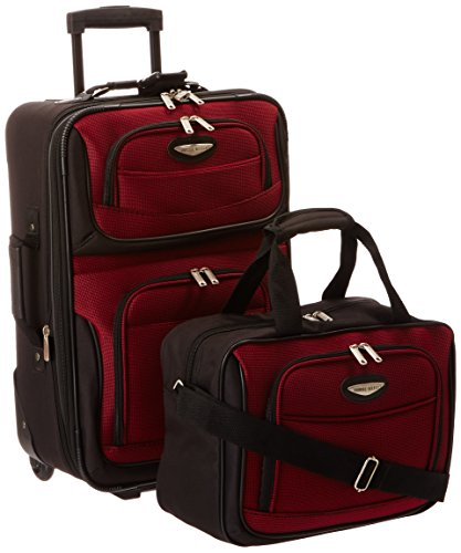 Tone Expandable Travel Set - Travelers Choice Travel Select Amsterdam Two Piece Carry-on Luggage Set, Burgundy
