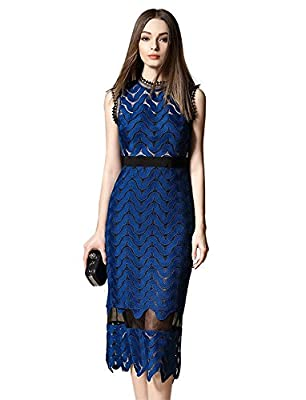 Tuliplazza Women Zigzag Tunic Sheath Cocktail Prom Party Gowns Midi Lace Dress