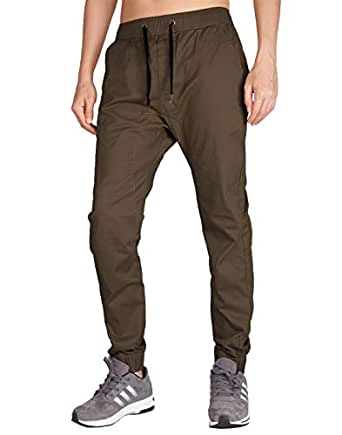 I.TALYMORN Men's Chino Jogger Skinny Casual Pants S Coffee