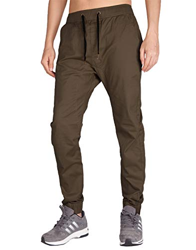 ITALY MORN Men's Chino Jogger Drop Crotch Casual Pants S Coffee ()