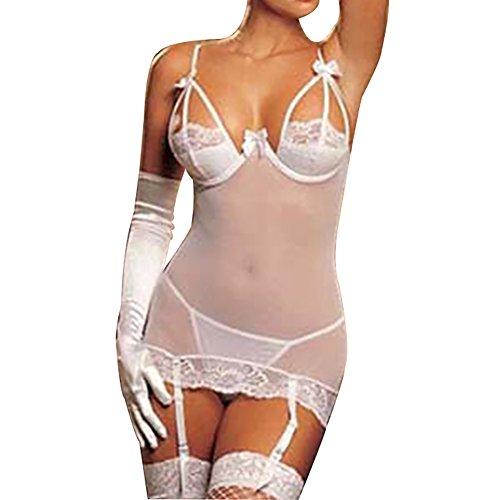 Shuohu Mesh Lingerie SeeThrough Bow Lace Backless Women Underwire Bra Nightwear GString Garter