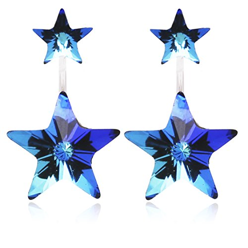Star or Heart Motif Earring Jackets Made with Swarovski Crystal for Women