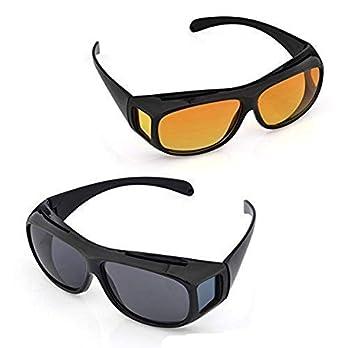 Carecroft Men's HD Vision Anti Glare Wraparounds Night Goggles for Driving (Yellow)