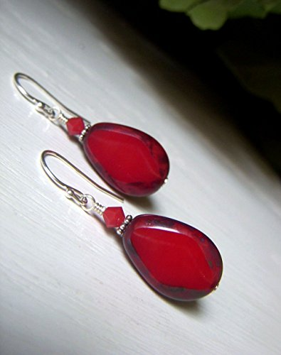 Lipstick Red Earrings, Tablecut Teardrop Czech Glass, Sterling Silver -