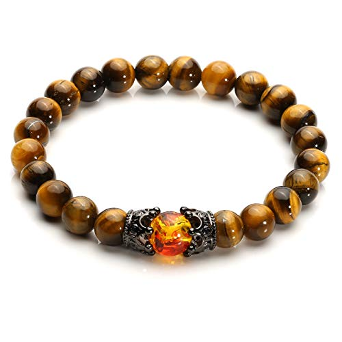(Top Plaza King&Queen Crown Distance Couple Bracelets His and Her Friendship Relationship Gemstone Beads Bracelet Mens Yellow Tiger Eye Stone Healing Crystal Bracelet )