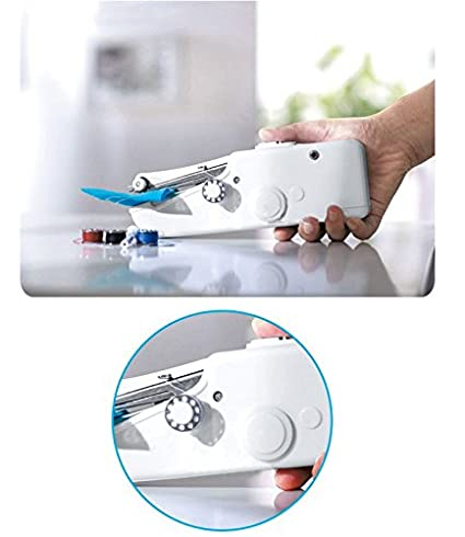 Mini portátil de mano práctica la máquina de coser sin cuerda blanca del hogar práctico regalo