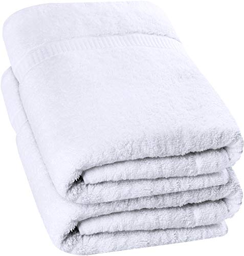Utopia Towels - 2 Pack Extra Large Bath Towels 35 x 70 inches Bath Sheets, White - DO NOT USE BLEACH, fabric softeners, and iron as it may damage its quality; always wash the towels separately to minimize lint Pack of 2 Luxury cotton bath sheets in white measures 35 x 70 inches Machine wash the towels in warm water using mild detergent and tumble dry on low; recommended to dry immediately to minimize mildew - bathroom-linens, bathroom, bath-towels - 41Y%2BjJzx4VL -