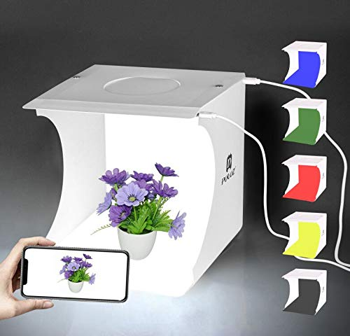 Mini Photo Studio Box,9 x 9 Inches Shooting Tent Kit, Foldable Photography Booth With 20 LED Lights + 6 Colors Backdrops