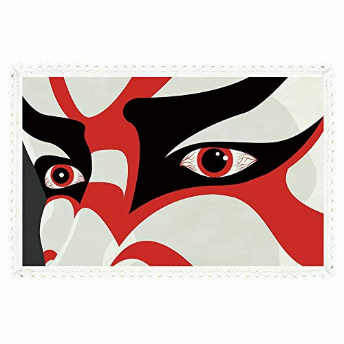 iPrint Kabuki Mask Decoration,Rectangle Polyester Linen Tablecloth/Japanese Drama Kabuki Face with Dramatic Eyes Cultural Theater/for Dinner Kitchen Home Décor,60