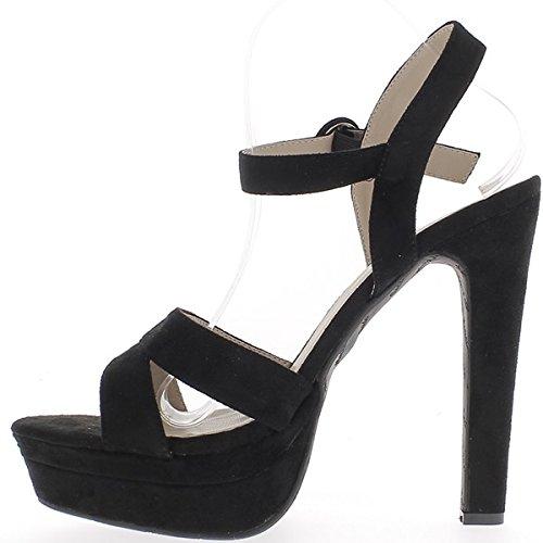 ChaussMoi Sandales Noires Grande Taille à Talon DE 15,5cm à Plateforme DE 4,5cm Effet Daim