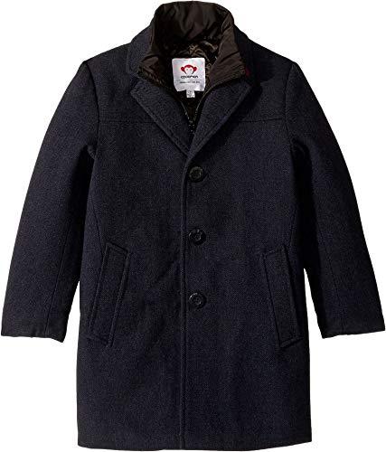 y's Double Lined Zip and Button Up City Overcoat (Toddler/Little Kids/Big Kids) Navy Herringbone 3 ()