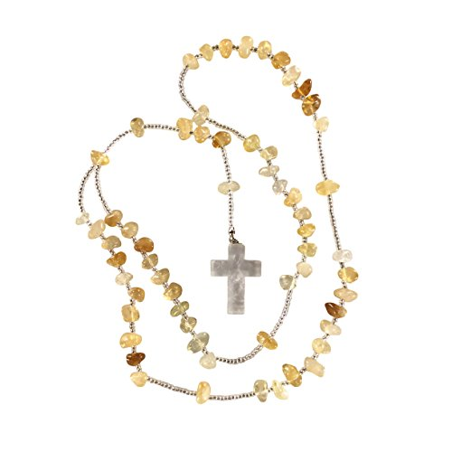 Citrine Crystal Rosary - Clear Quartz Cross Pendant - Crystal Clear Miracles Healing - Prayer Bead Necklace - Powerful Energy - Brazilian Hand Faceted Natural Crystal