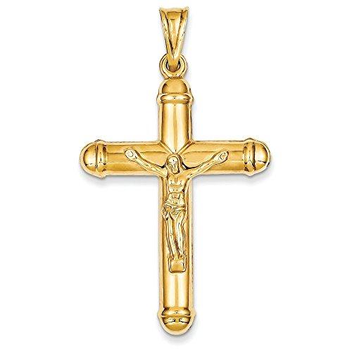 Pendentif creux Crucifix 14 carats-Dimensions :  55,8 x 43 mm-JewelryWeb
