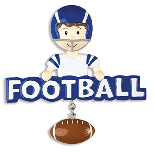 Personalized Football Christmas Ornament - Brunette Boy with Helmet Holds Blue Word Dangling Sports Ball Team Player Athlete NFL - Coach Hobby School Active Foot Profession - Free -