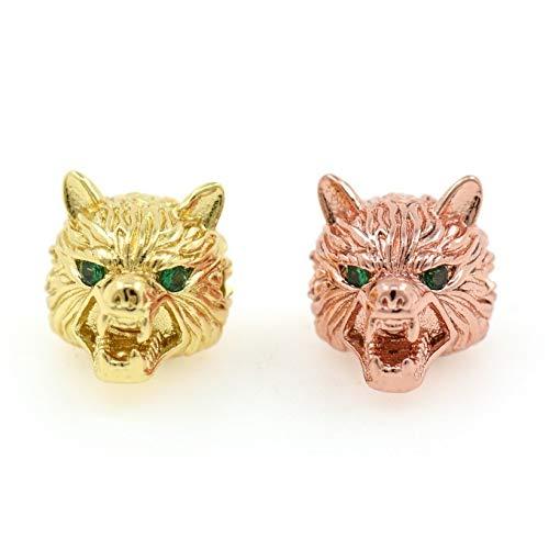Wolf Head Beads,Green Eyes Animal Jewelry,Fashion Cubic Zirconia Beads Wholesale 11X11mm Rosegold ()