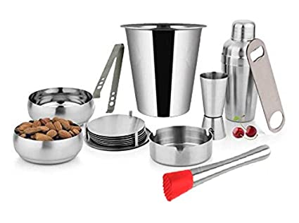 King International Stainless Steel Bar Set Of 10 Pieces Including 1