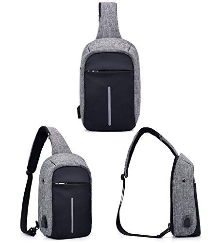 Super moderne Unisexe chargeur USB Port EN NYLON Sac à bandoulière antivol Sac à bandoulière Smart Sac de voyage avec écouteurs rose