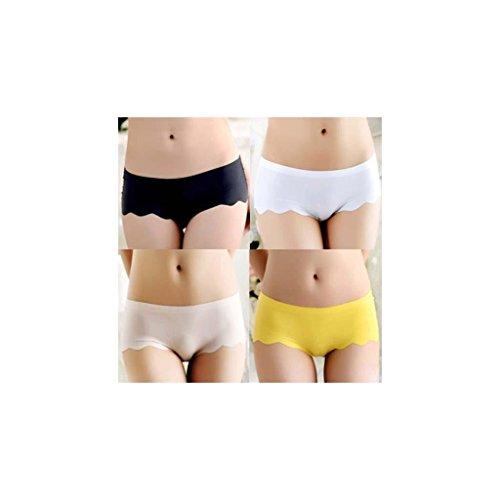 algodón del cordón de la ropa interior pantalones planos de las mujeres paquete de 4 bragas bikini (Todo el código) , f , mean c