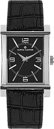 Alpha Saphir 296A - Reloj de mujer de cuarzo, correa de piel color negro: Amazon.es: Relojes