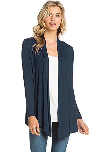 12 Ami Basic Long Sleeve Open Front Cardigan Navy Blue XL
