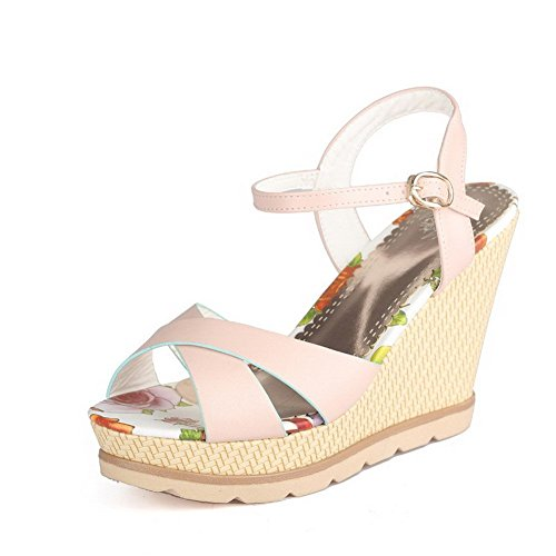 AllhqFashion Women's Peep Toe Metal PU Solid High Heels Sandals Pink