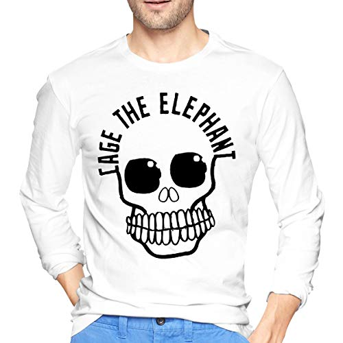 GabrielR Men's Cage The Elephant Band Long Sleeve T-Shirt White -