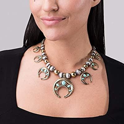 American West Sterling Silver and Brass Blue Turquoise Gemstone Naja Squash Blossom Statement Necklace 17 Inch