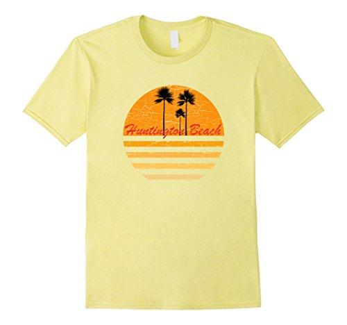 Mens Huntington Beach Vintage Retro T-Shirt 70s Throwback Surf T XL Lemon (Beach Mens Vintage T-shirt)