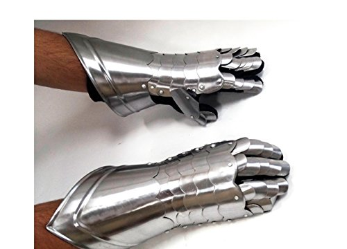 Metal Armour Hand Gloves Pair with Inviting Decor (Medieval Gauntlets)