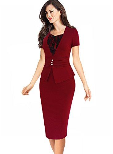 Buy belted peplum sheath dress - 1