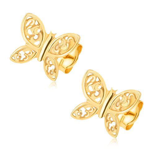 ordoš Diamonds® Pendientes de oro de 14 K Amarillo, Hombre, Mujer, niños, Oro 585, mariposa, ausgeschnittener mariposa Adornada con delicado, stemplung, ...