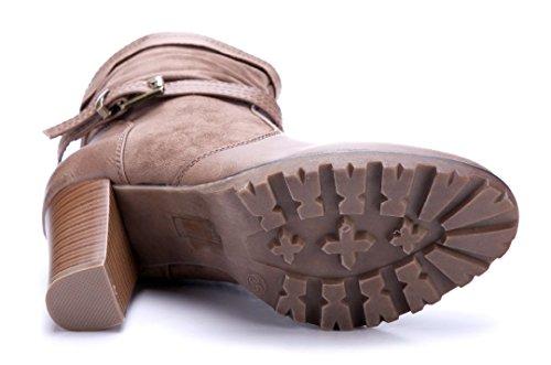 Schuhtempel24 Damen Schuhe Klassische Stiefeletten Stiefel Boots Trichterabsatz Schnalle 9 cm Khaki