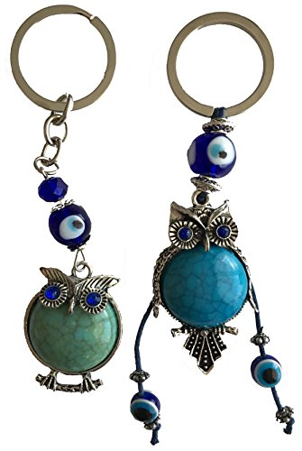 Blue Evil Eye Keychain Ring for Protection and Blessing, Set of 2 Turquoise Beautiful Owls Charms for Wisdom, Great Gift (Ancient Greece Kits)