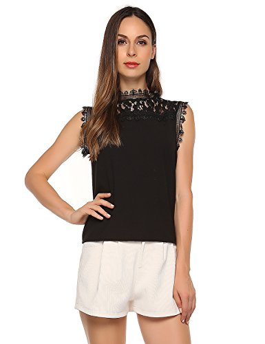 Match Women's Floral Lace Sleeveless Top (L, 130 Black)