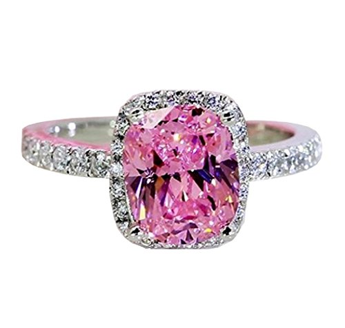 Qiaoying Ring 18k White Gold Gp Pink Austria Swarovski Crystal Lady Bridal Wedding Engagement (5) ()