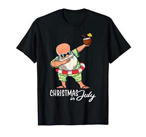 Dabbing Santa Funny Christmas In July Shirt Flip Flops Gifts T-Shirt]()