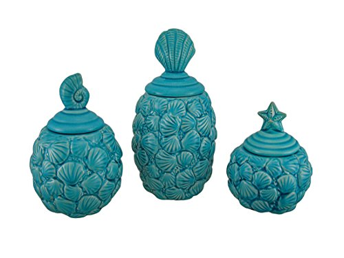 UPC 726674329246, Blue Seashell Design Ceramic Canisters Set of 3