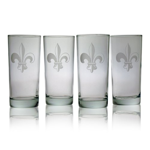 Susquehanna Glass Fleur De Lis Sand Etched Hiball Glasses, Set of 4, 15 ounces