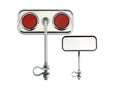 Rectangle Mirror Chrome Red Reflectors. Bike mirror, bicycle mirror for lowrider , beach cruiser, chopper, limo, stretch bike, bmx, track, fixie, mountain bikes