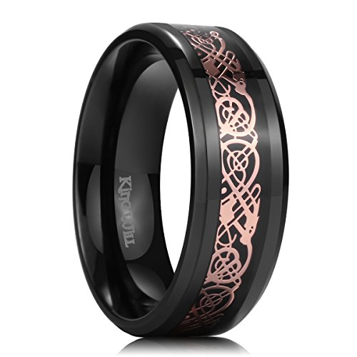 - King Will Dragon Men's 8mm Black Carbon Fiber Rose Gold Celtic Dragon Titanium Wedding Ring Band (9.5)