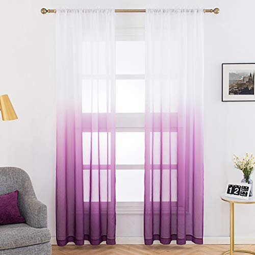 Selectex Linen Look Ombre Sheer Curtains - Rod Pocket Voile Curtains for Living and Bedroom, Set of 2 Curtain Panels (52 x 84 inch, Purple)