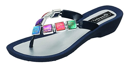 Grandco Navy Glass Women's Sandal Stained Thong qFqw0x61